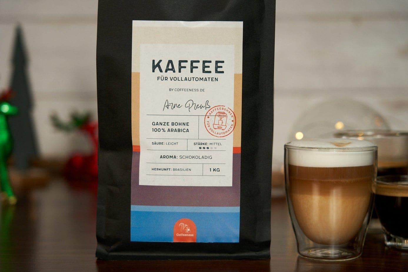Kaffee fuer Vollautomaten Verpackung Detail von vorne