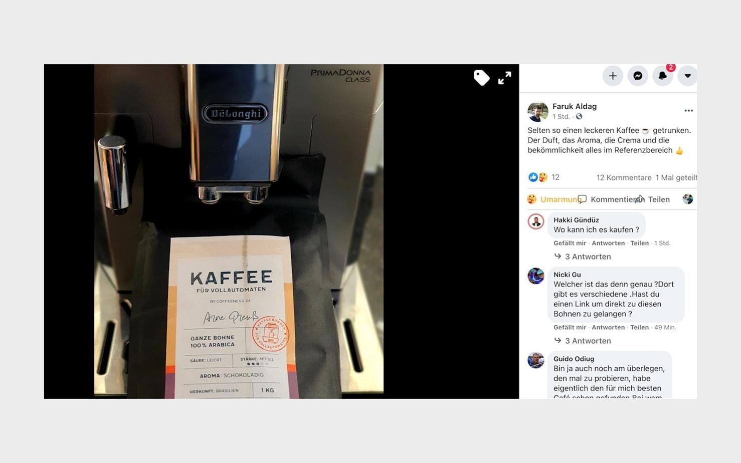 Bewertung Kunde Coffeeness Kaffee auf Facebook